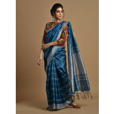 Craftsvilla Teal Blue Color Silk Blend Printed Traditional Saree With Unstitched Blouse Material