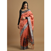 Craftsvilla Peach Color Silk Blend Printed Traditional Saree With Unstitched Blouse Material