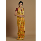 Craftsvilla Mustard Color Georgette Printed Partywear Saree With Unstitched Blouse Material