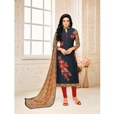 Craftsvilla Navy Color Chanderi Embroidered Straight Suit With Printed Dupatta