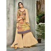 Craftsvilla Peach Color Cotton Silk Printed Semi-stitched Straight Palazzo Suit