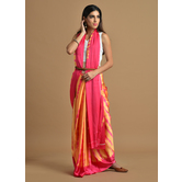 Craftsvilla Orange And Pink Color Satin Printed Traditional Saree With Unstitched Blouse Material
