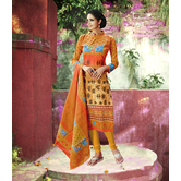 Craftsvilla Mustard Color Cotton Blend Printed Unstitched Straight Suit
