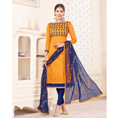 Craftsvilla Mustard Color Handloom South Cotton Geometric Unstitched Salwar Suit