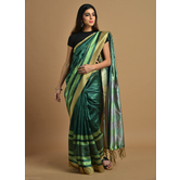 Craftsvilla Green Color Silk Blend Printed Traditional Saree With Unstitched Blouse Material