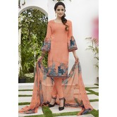 Craftsvilla Peach Color French Crepe Printed Straight Salwar Suit