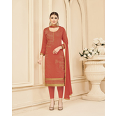 Craftsvilla Orange Color Chanderi Embroidered Unstitched Straight Suit