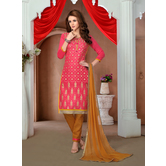 Craftsvilla Pink Color Cotton Blend Embellished Traditional Unstitched Straight Suit