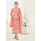 Craftsvilla Peach Color Pure Lawn Floral Unstitched Salwar Suit