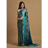 Craftsvilla Teal Green Satin Printed Traditional Saree With Unstitched Blouse Material