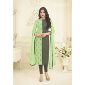 Craftsvilla Green And Grey Color Chanderi Embroidered Traditional Unstitched Straight Churidar Suit