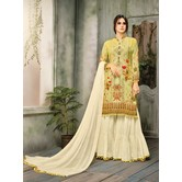 Craftsvilla Yellow Color Cotton Silk Printed Semi-stitched Straight Palazzo Suit