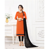 Craftsvilla Orange Color Cotton Blend Embroidered Unstitched Straight Suit