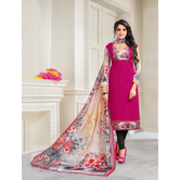 Craftsvilla Pink Color Pure Cambric Cotton Solid Unstitched Salwar Suit