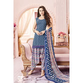 Craftsvilla Navy Color Cotton Blend Printed Unstitched Straight Suit
