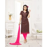 Craftsvilla Brown Color Cotton Blend Embroidered Unstitched Straight Suit