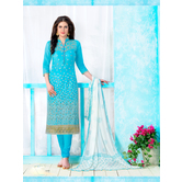 Craftsvilla Sky Blue Color Cotton Embroidered Unstitched Straight Suit