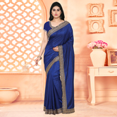 Craftsvilla Navy Blue Festive Wear Silk Solid Saree With Unstitched Blouse