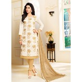 Craftsvilla Off White Color Cotton Blend Embellished Traditional Unstitched Straight Suit