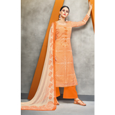 Craftsvilla Orange Color Cotton Blend Abstract Printed Unstitched Salwar Suit