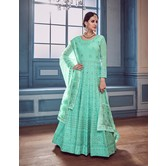 Craftsvilla Green Georgette Embroidered Traditional Semi-stitched Anarkali Suit