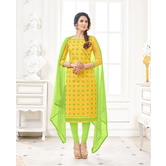 Craftsvilla Yellow Color Cotton Blend Embroidered Unstitched Straight Suit