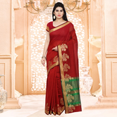 Craftsvilla Maroon Festive Wear Cotton Silk Solid Saree With Unstitched Blouse