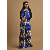 Craftsvilla Blue Color Satin Printed Traditional Saree With Unstitched Blouse Material