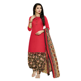 Craftsvilla Red Color Cotton Plain Unstitched Traditional Straight Patiala Suit