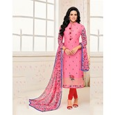 Craftsvilla Pink Color Chanderi Embroidered Straight Suit With Printed Dupatta