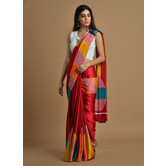 Craftsvilla Red Satin Printed Traditional Saree With Unstitched Blouse Material