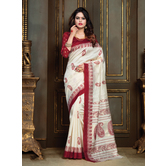 Craftsvilla Cream Festive Wear Patola Silk Geomatric Saree With Unstitched Blouse
