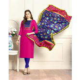 Craftsvilla Pink Color Cotton Plain Unstitched Straight Suit