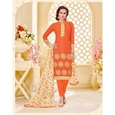Craftsvilla Orange Embroidered Cotton Jacquard Unstitched Dress Material With Matching Dupatta
