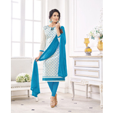 Craftsvilla Off White Color Cotton Blend Embroidered Unstitched Straight Suit