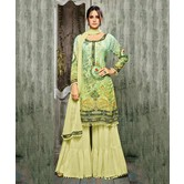 Craftsvilla Green Color Cotton Silk Printed Semi-stitched Straight Palazzo Suit