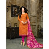 Craftsvilla Orange Embroidered Cotton Jacquard Party Wear Chudidar Solid Unstitched Dress Material With Matching Dupatta