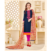 Craftsvilla Navy Blue Embroidered Cotton Jacquard Party Wear Chudidar Abstract Print Unstitched Dress Material With Matching Dupatta