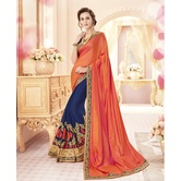 Craftsvilla Embellished Georgette Orange And Navy Color Designer Saree.