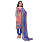 Craftsvilla Red Color Crepe Printed Unstitched Straight Suit
