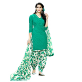 Craftsvilla Green Color Cotton Blend Printed Unstitched Straight Patiala Suit