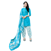 Craftsvilla Blue Color Cotton Blend Printed Unstitched Straight Patiala Suit