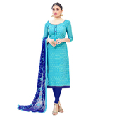 Craftsvilla Blue Color Crepe Silk Embroidered Unstitched Straight Suit