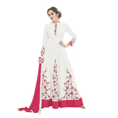 Craftsvilla Off White Color Silk Embellished Semi-stitched Frock Style Anarkali Suit