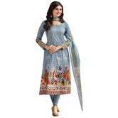 Craftsvilla Multicolor Cotton Printed Unstitched Straight Suit