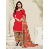 Craftsvilla Red Color Cotton Blend Plain Unstitched Straight Suit