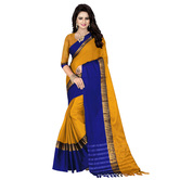 Craftsvilla Yellow And Blue Color Lining Border Poly Silk Saree With Unstitched Blouse