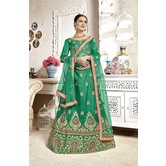 Craftsvilla Green Bangalore Silk Embroidered Designer Semi-stitched Lehenga Choli