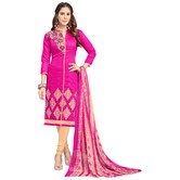 Craftsvilla Pink Color Chanderi Embroidered Semi-stitched Straight Suit