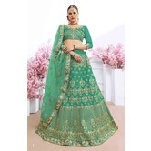 Craftsvilla Turquoise Silk Embroidered Designer Semi-stitched Lehenga Choli